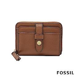 FOSSIL FIONA 金釦設計照片拉鍊零錢短夾-咖啡色