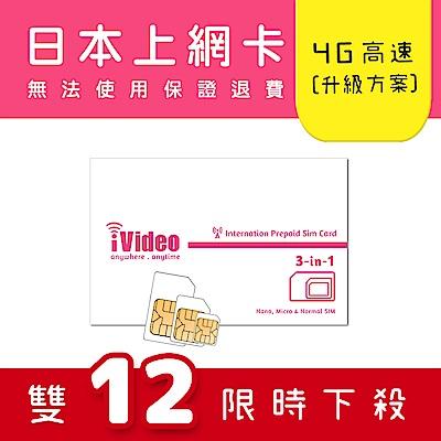 iVideo日本上網卡 SIM卡 4天 吃到飽 【升級方案】