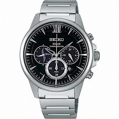 SEIKO精工 SPIRIT 太陽能忍者三眼計時手錶(SBPY053G)-黑/40mm