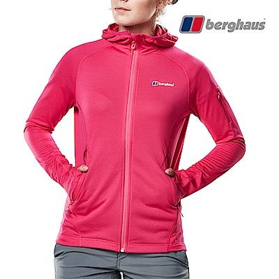 【Berghaus貝豪斯】女款輕量彈性透氣連帽刷毛保暖外套H22F35粉色