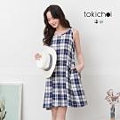 東京著衣 俏皮簡約清新格紋配色短洋裝-S.M.L(共二色)