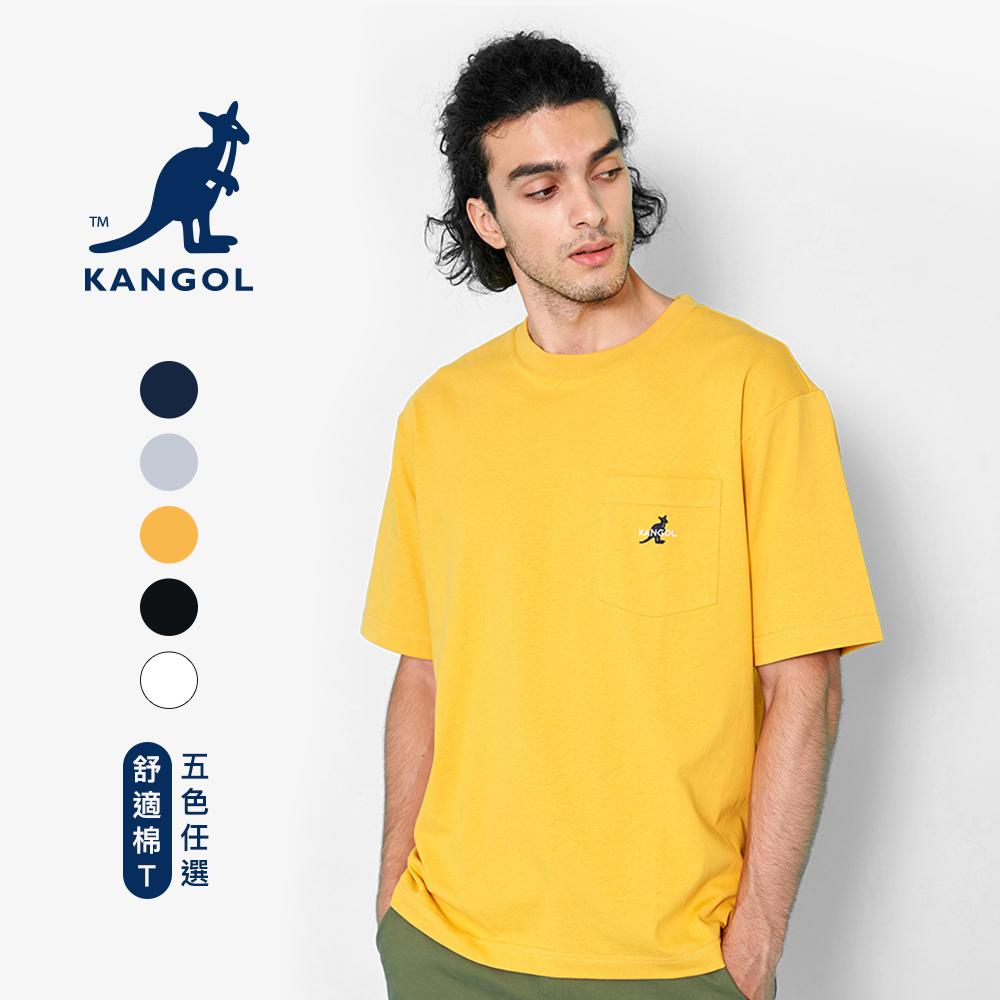 【KANGOL】落肩口袋棉質短袖T恤-男女款-五色