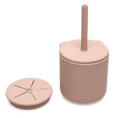 新加坡bopomofo 小熊鉑金矽膠水杯零食杯組-灰粉