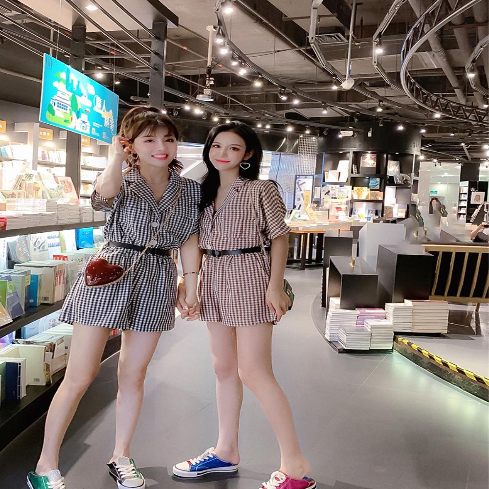DABI 韓系休閒格紋連身褲套裝短袖褲裝