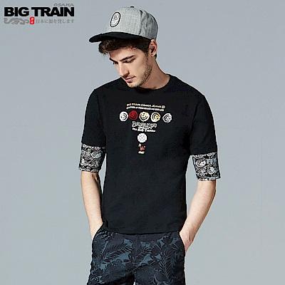 BigTrain翻轉潮流配色五分袖T-男-黑色