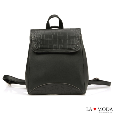 La Moda 品味生活蛇紋壓紋面料多背法大容量斜背後背包(黑)