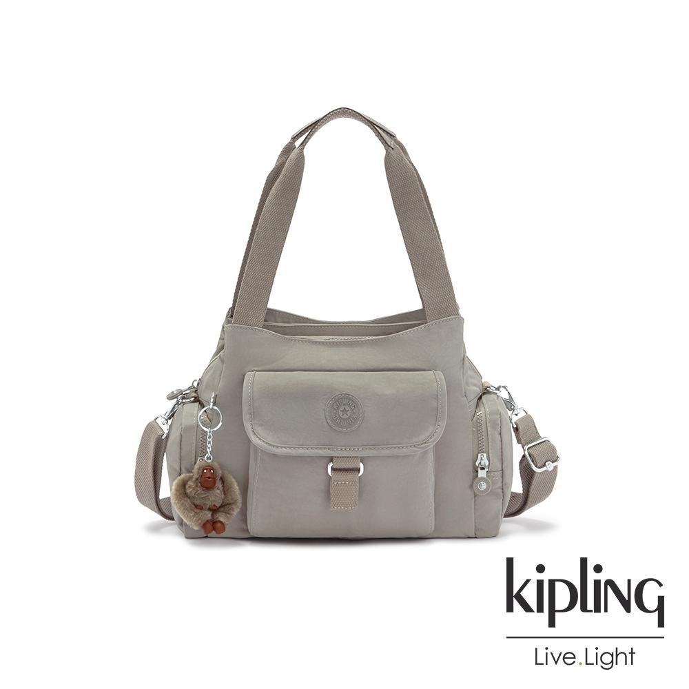 Kipling 沉穩時尚灰好收納手提兩用斜背包-EIRENE