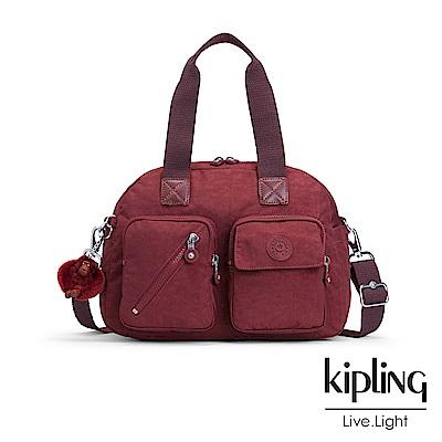 Kipling 手提包 胭脂酒紅素面-中
