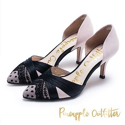 Pineapple Outfitter 法式優雅 高質感緞面蕾絲跟鞋-絨藕