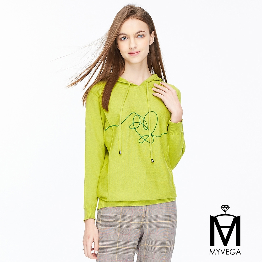 麥雪爾 MA兔絨保暖連帽針織上衣-草綠