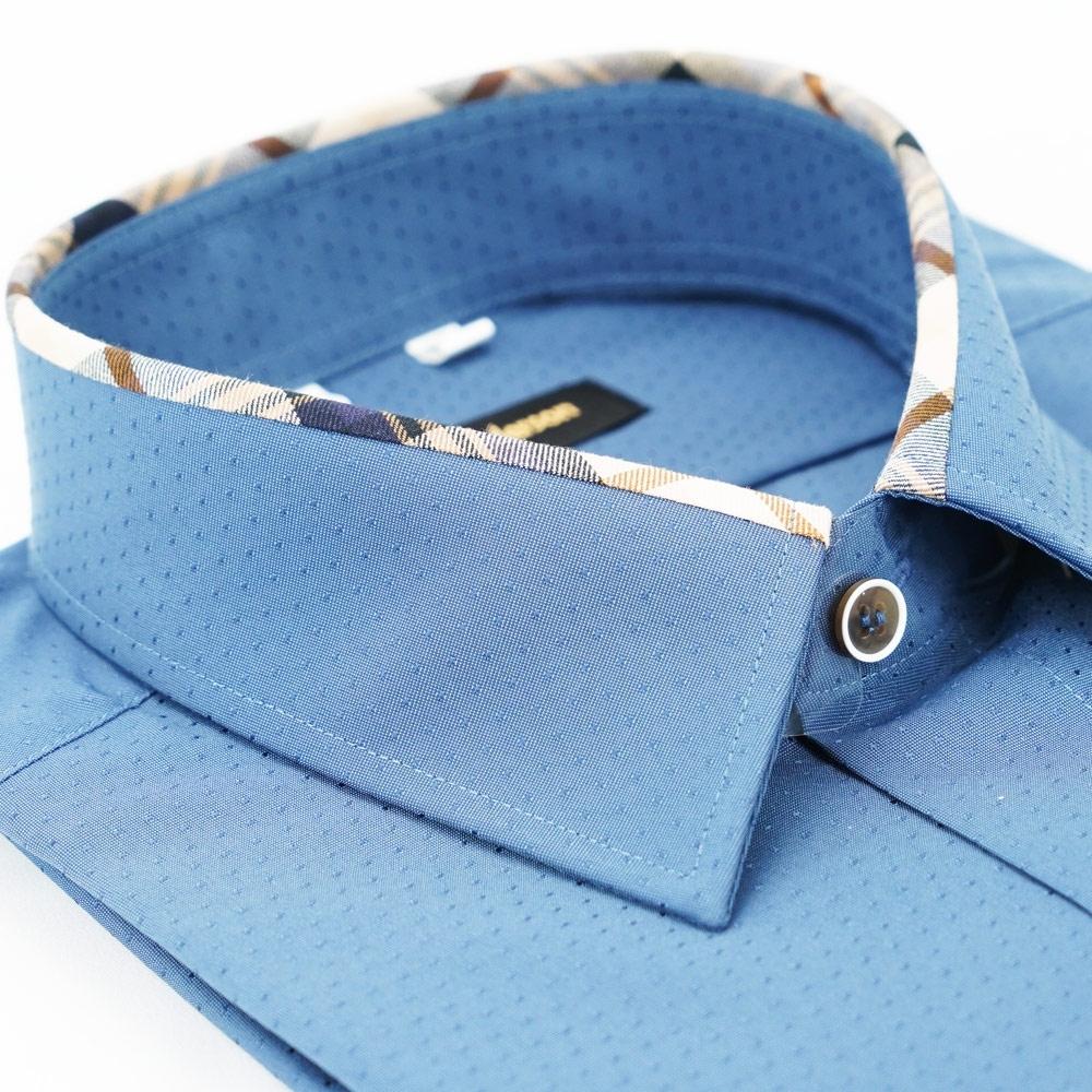 【金安德森】經典格紋繞領深藍色吸排窄版長袖襯衫