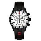 阿爾卑斯軍錶S.A.M 飛行員系列/黑橡膠錶帶/三眼計時/43mm
