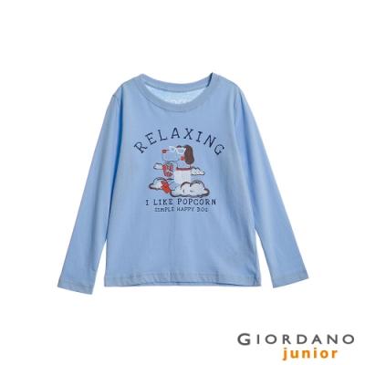 GIORDANO 童裝童趣塗鴉風印花長袖T恤-33 粉藍