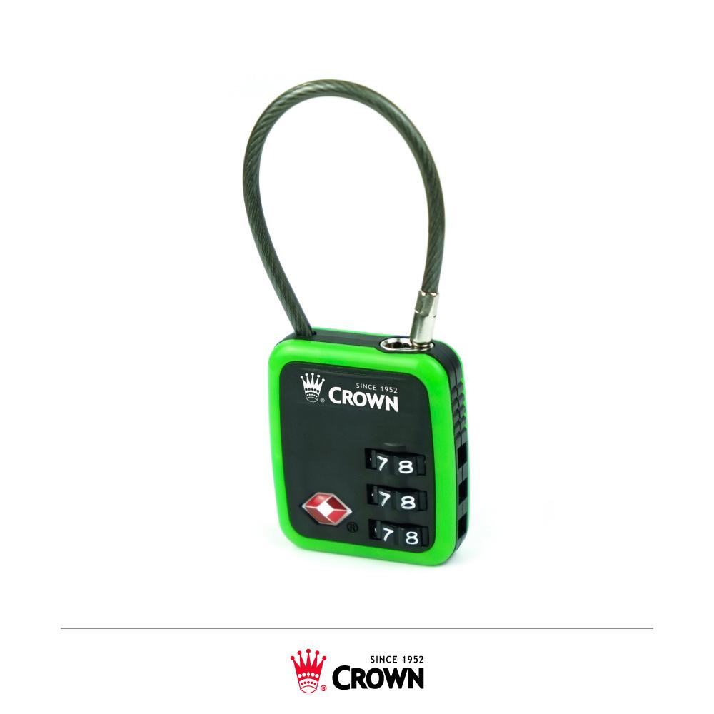 CROWN 皇冠 TSA美國海關鎖 鋼絲密碼鎖 綠色