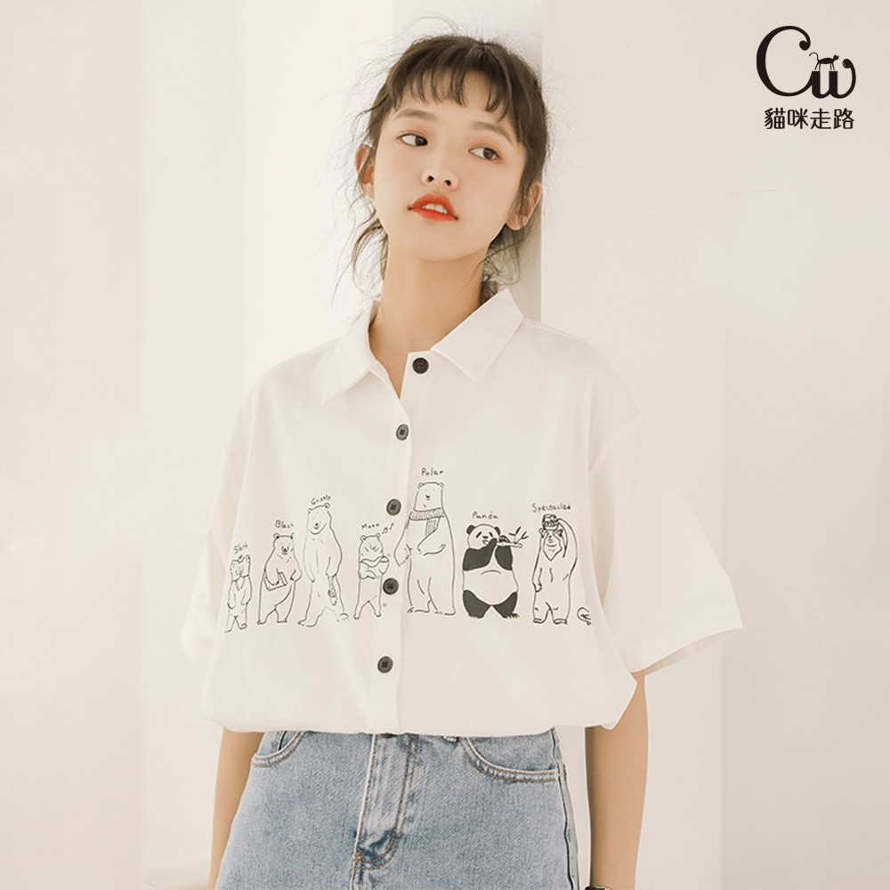 [CW.貓咪走路]怪味少女寬鬆卡通繪本短袖襯衫(KDT-6965) (白色)