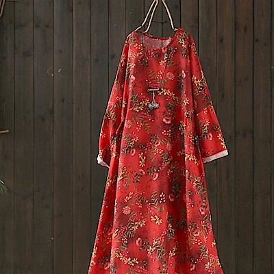 印花亞麻氣質棉麻碎花中長洋裝-設計所在