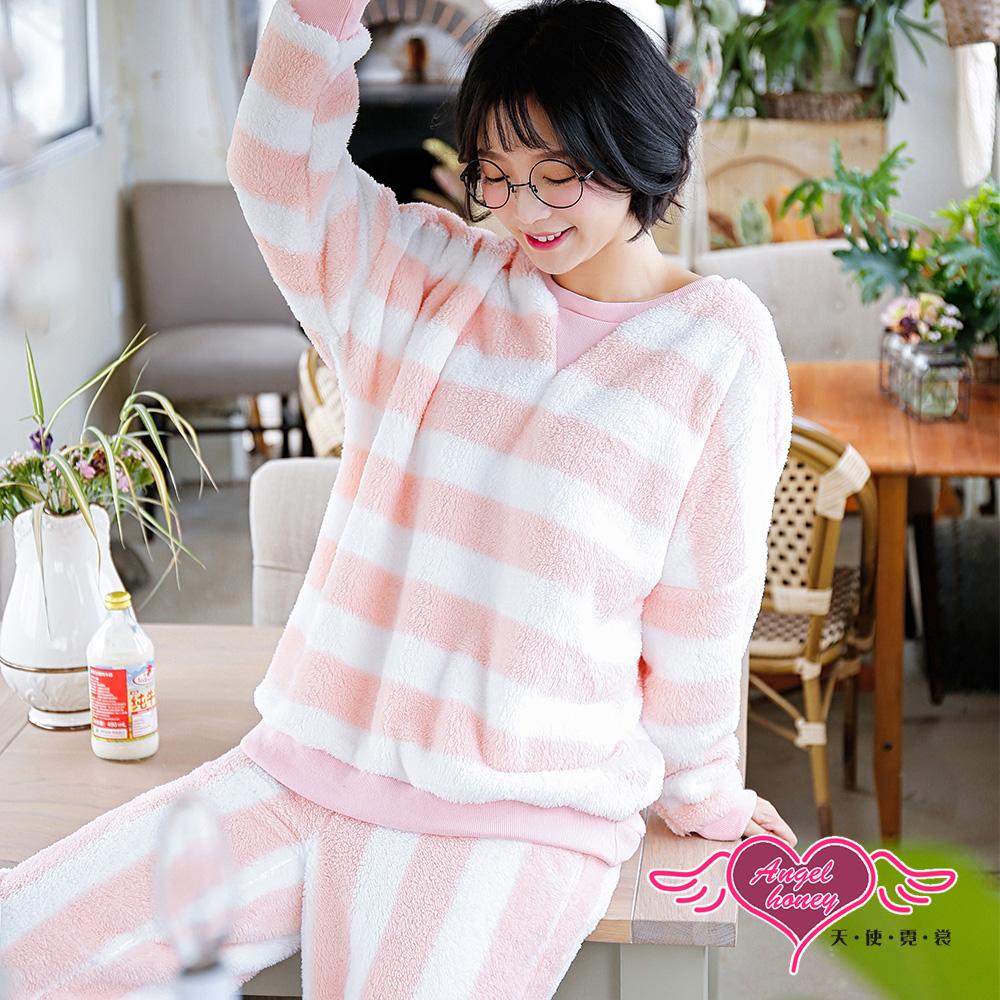 保暖睡衣 清新微甜 法蘭絨二件式長袖成套休閒服(粉白F) AngelHoney天使霓裳