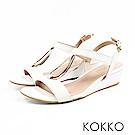 KOKKO - 時髦水滴金屬真皮後帶楔型跟鞋 - 王妃米