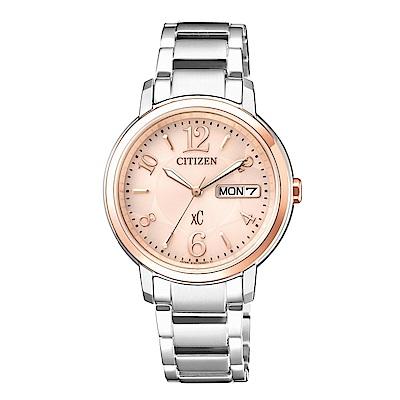 CITIZEN XC 優雅甜美光動能計時時尚玫瑰金腕錶/EW2424-50W