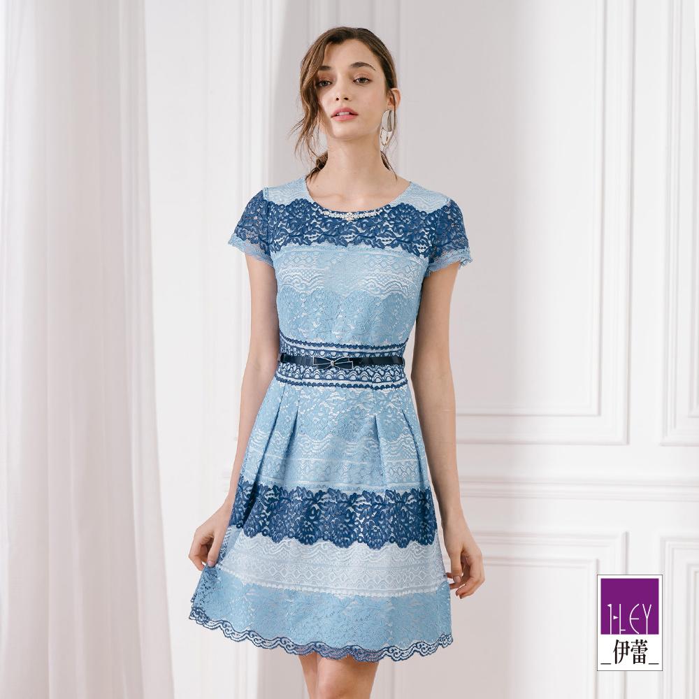 ILEY伊蕾 縷空三色蕾絲洋裝(藍)