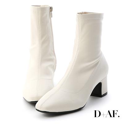 D+AF 潮流專屬.素面中線方頭中跟襪靴*米白