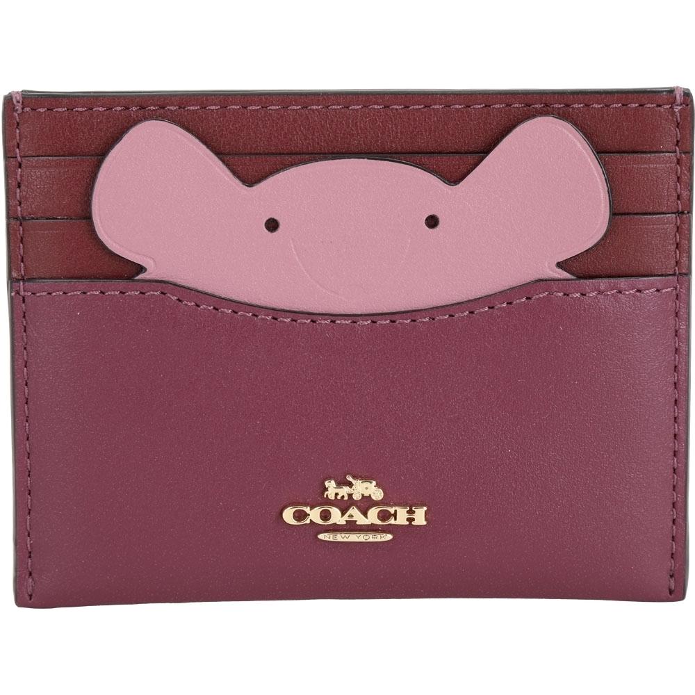 COACH Mouse 可愛老鼠造型粉紫撞色牛皮名片夾