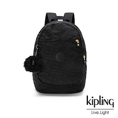 Kipling黑色幾何紋路拉鍊後背包-CLAS CHALLENGER