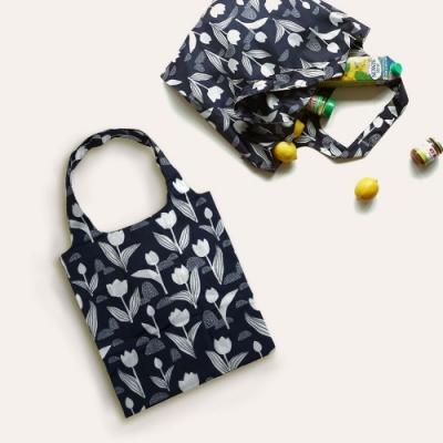 Dailylike 摺疊購物袋單肩包L-19黑色鬱金香