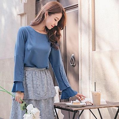 純色造型釦飾荷葉拼接袖上衣-OB大尺碼
