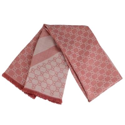 GUCCI 粉/淺粉色雙色條紋羊毛混紡大方形圍巾披肩