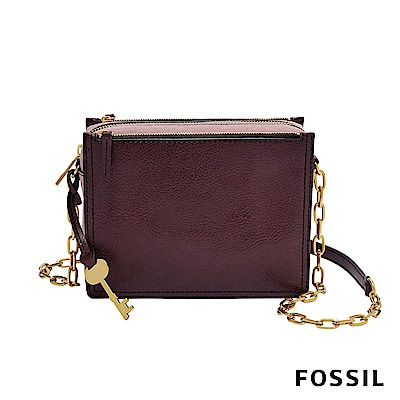FOSSIL CAMPBELL 時尚鏈帶多夾層隨身小方包-棗紅色
