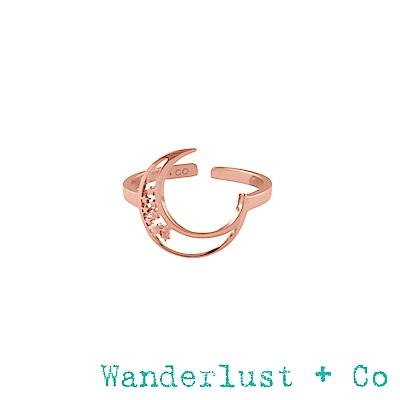 Wanderlust+Co埃里亞新月戒指 - 玫瑰金色