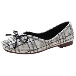 KEITH-WILL時尚鞋館 獨家秒殺氣質魅力蝴蝶結水鑽格紋方頭鞋-白