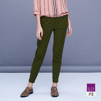 ILEY伊蕾 素色百搭高彈性貼腿褲(黑/綠)