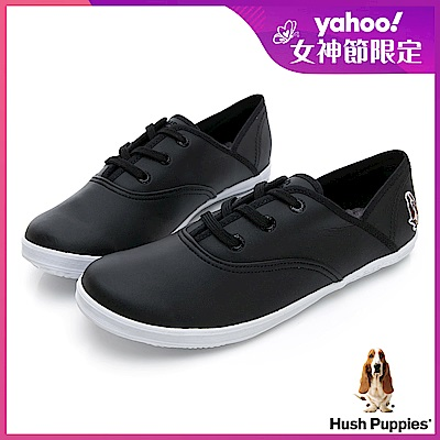 Hush Puppies 熱銷基本款★咖啡紗皮質休閒鞋-黑色