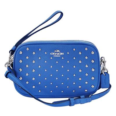 COACH海藍色荔枝紋全皮鉚釘貼飾雙層手掛/斜背小包