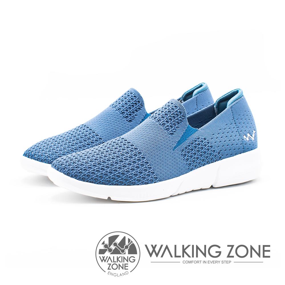 WALKING ZONE 飛線針織輕量女鞋-藍(另有灰、粉)