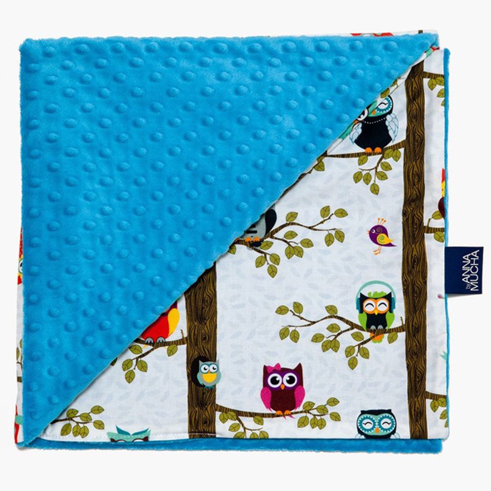 La Millou單面巧柔豆豆毯-AnnaMucha設計師限量款(樹屋貓頭鷹)-土耳其藍