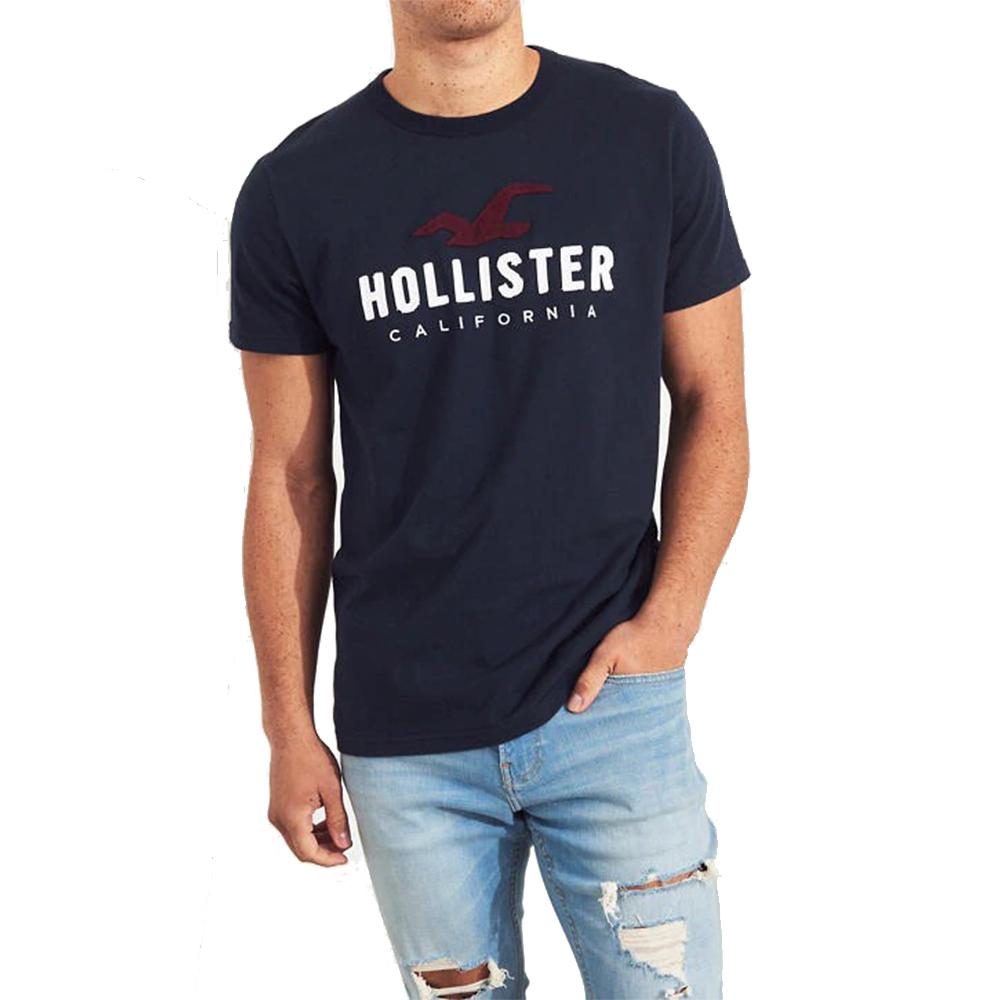 海鷗 Hollister HCO 經典刺繡大海鷗文字短袖T恤-深藍色