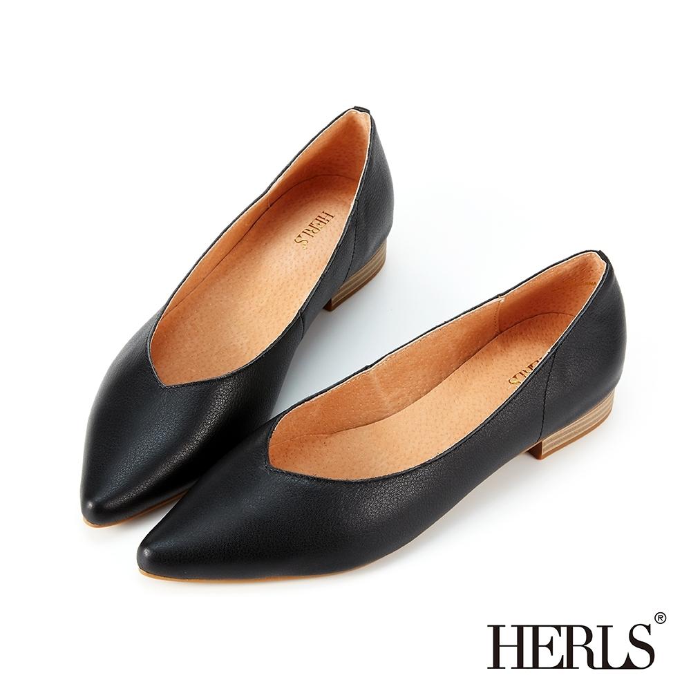 HERLS低跟鞋-全真皮百搭素面V口尖頭低跟鞋-黑色
