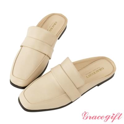 Grace gift-素面方頭寬帶穆勒鞋 米白