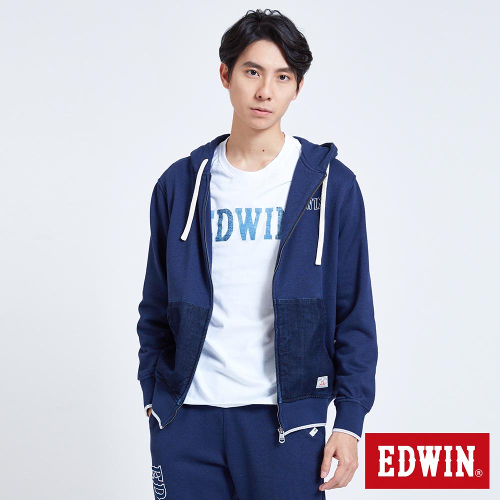 EDWIN 職人手作 牛仔口袋連帽外套-男-丈青