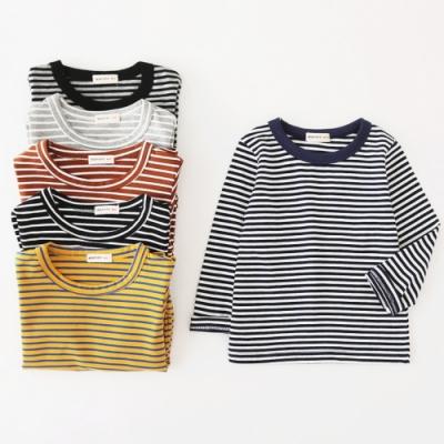 小衣衫童裝 兒童內搭必備款圓領條紋長袖T恤1090934