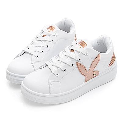 PLAYBOY 潮流感線條綁帶休閒鞋-白金-Y521315