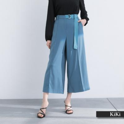 【KiKi】扣環腰帶寬口-長褲(二色/版型顯瘦)