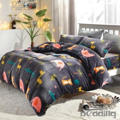 BEDDING-頂級法蘭絨-單人床包被套三件組-叢林派對