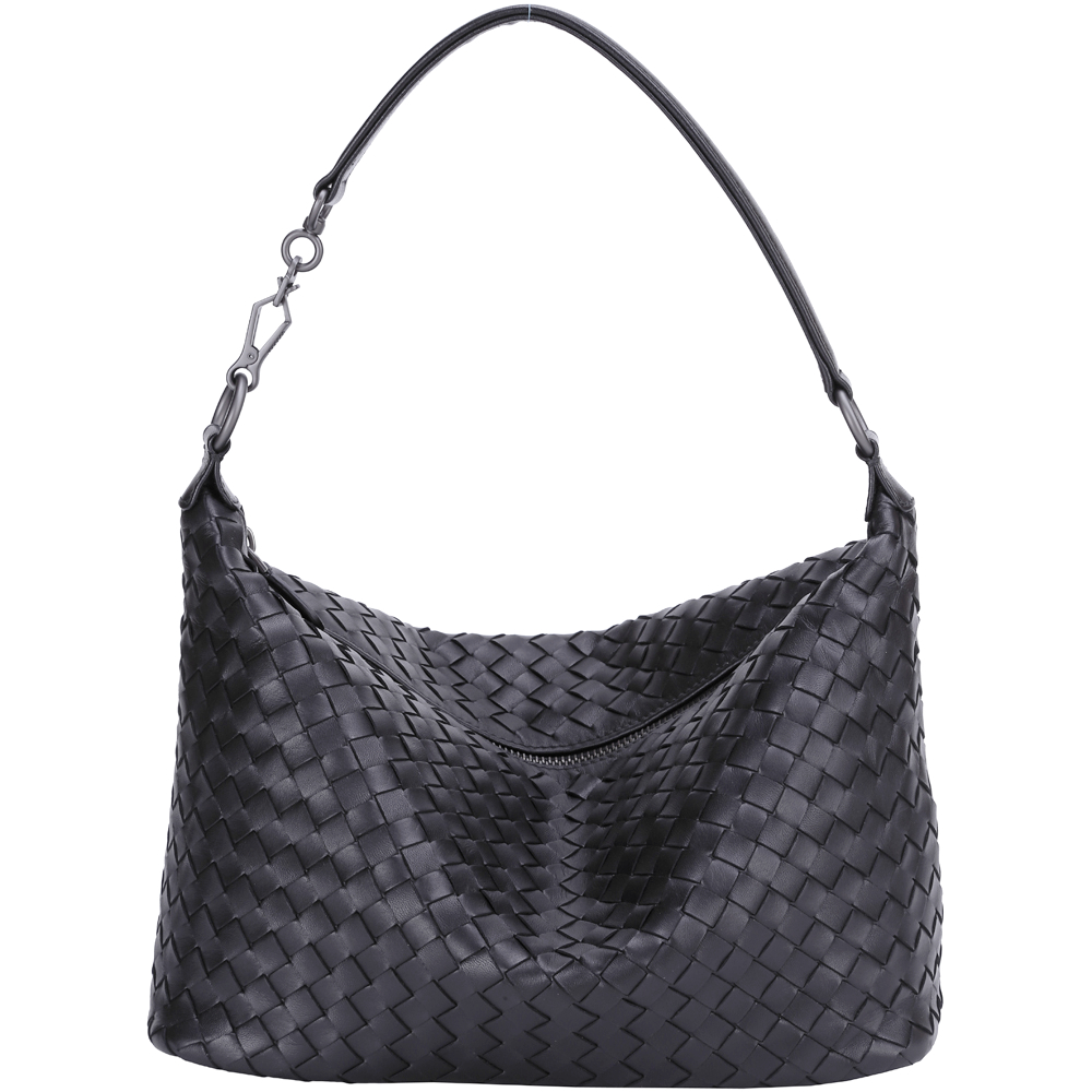 BOTTEGA VENETA 經典小羊皮手工編織肩背包(黑色)
