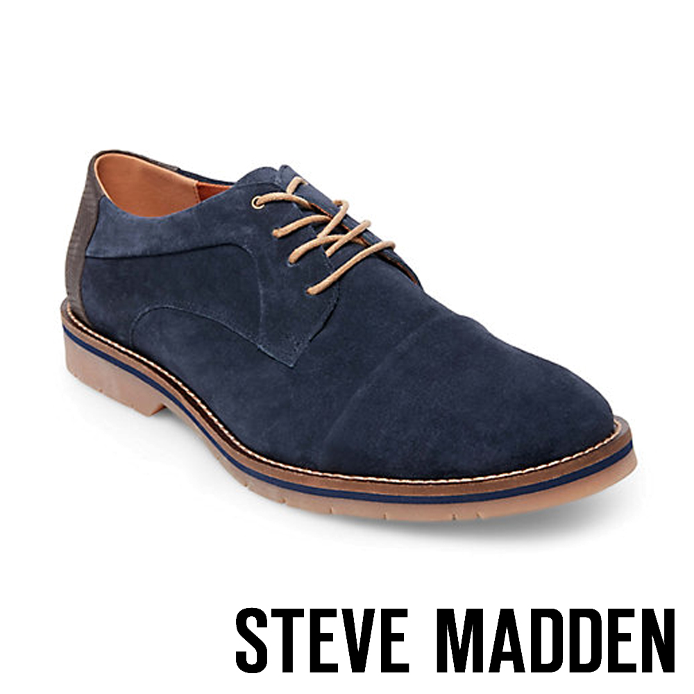 STEVE MADDEN-SOLEMN 絨面男士美式拼接式紳士鞋-絨深藍