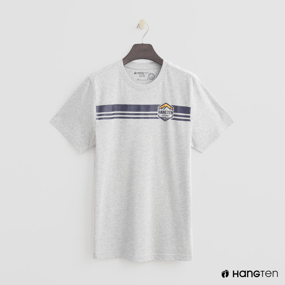 Hang Ten - 男裝 - 簡約配色logo圖樣T恤 - 灰