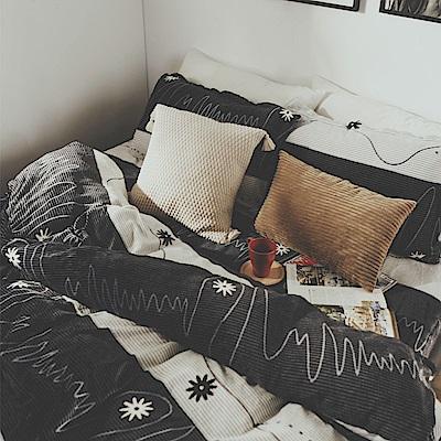 絲薇諾 律動 雙人四件式-法蘭絨 鋪棉加厚床包被套組
